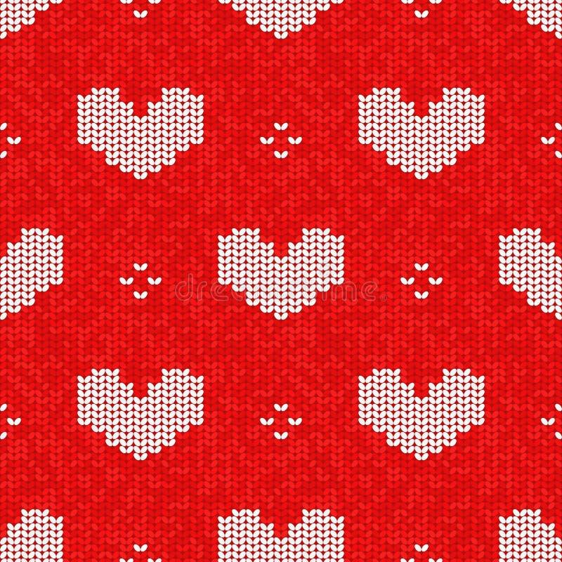 Vektor strickte nahtloses Muster, Valentinstagartstricken vektor abbildung