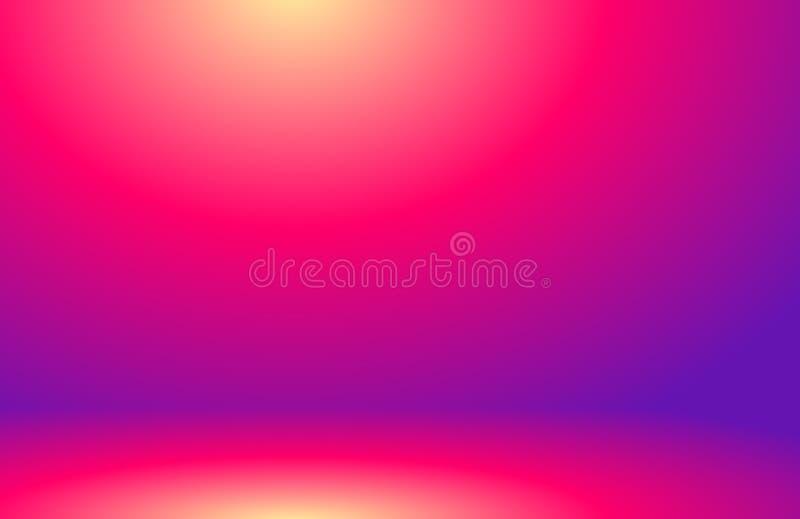 Vektor-Studio-Hintergrund-Konzept - Studio-Raumhintergrund der leeren hellen Steigung der Zusammenfassung purpurroter für Produkt stock abbildung