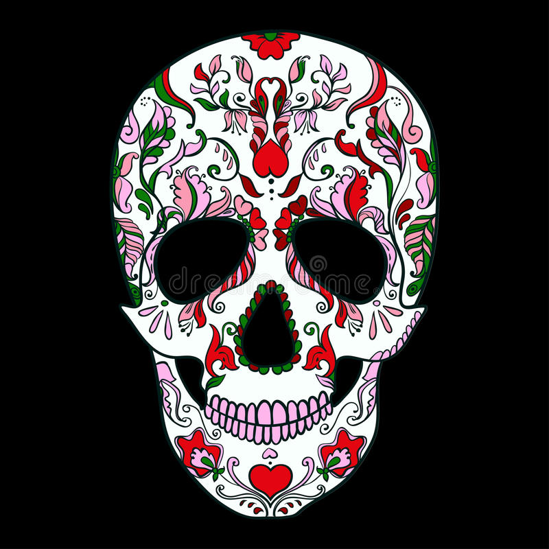 Vektor Sugar Skull mit Verzierung lizenzfreie abbildung