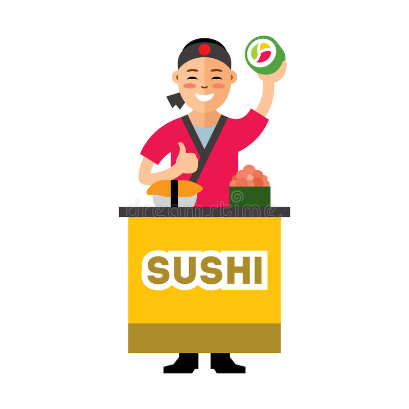 Vektor-Sushi-Chef Flache Art bunte Karikaturillustration lizenzfreie abbildung