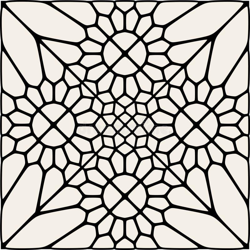 Vektor svartvita Mandala Lace Ornament Mosaic royaltyfri illustrationer