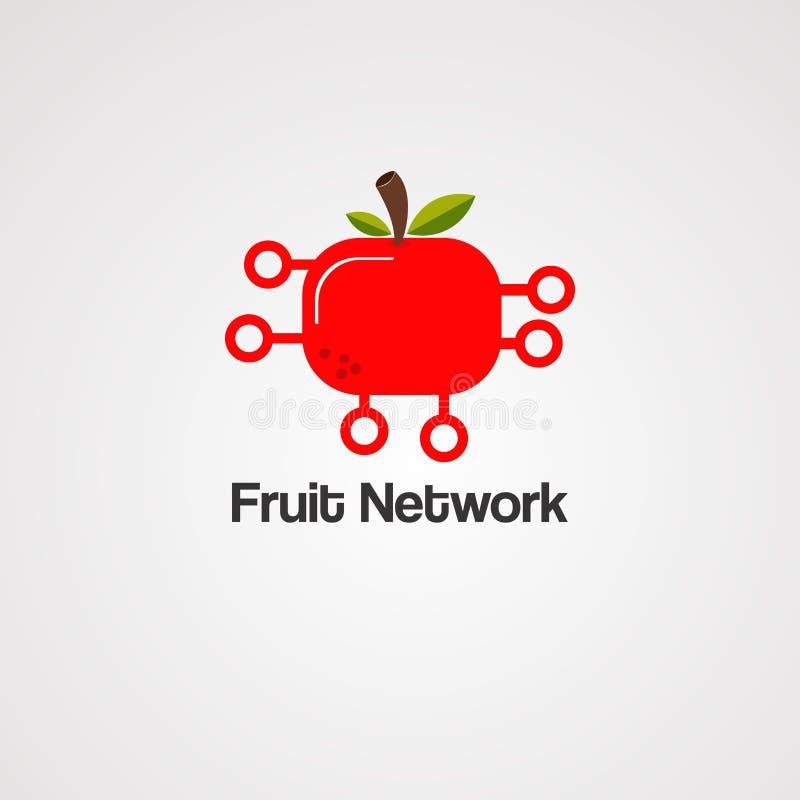 Vektor, symbol, beståndsdel och mall för fruktnätverkslogo royaltyfri illustrationer