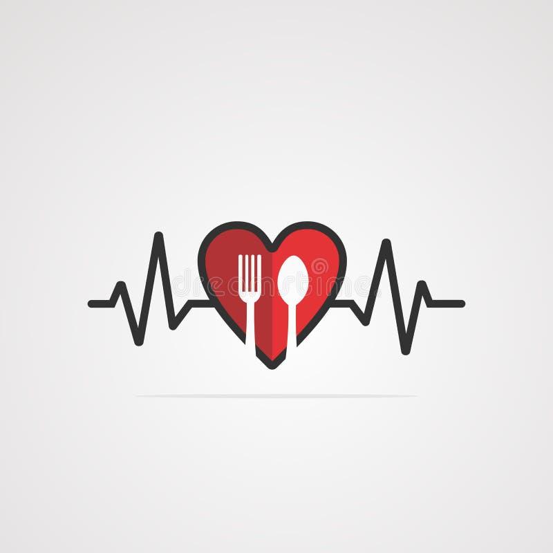 Vektor, symbol, beståndsdel och mall för hjärtamatlogo vektor illustrationer
