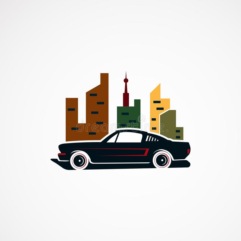 Vektor, symbol, beståndsdel och mall för logo för begrepp för stadsbil retro för företag vektor illustrationer