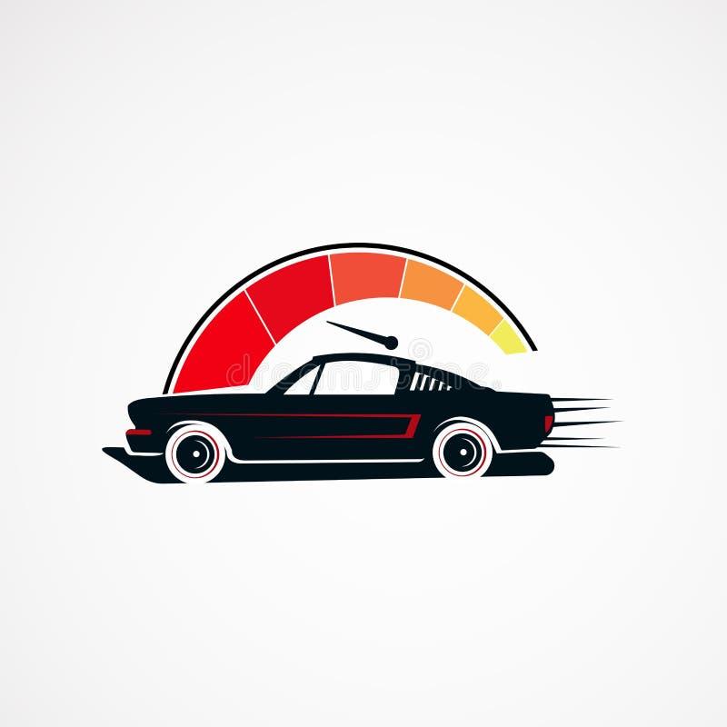 Vektor, symbol, beståndsdel och mall för logo för begrepp för tappning för bilhastighetsservice retro för företag vektor illustrationer