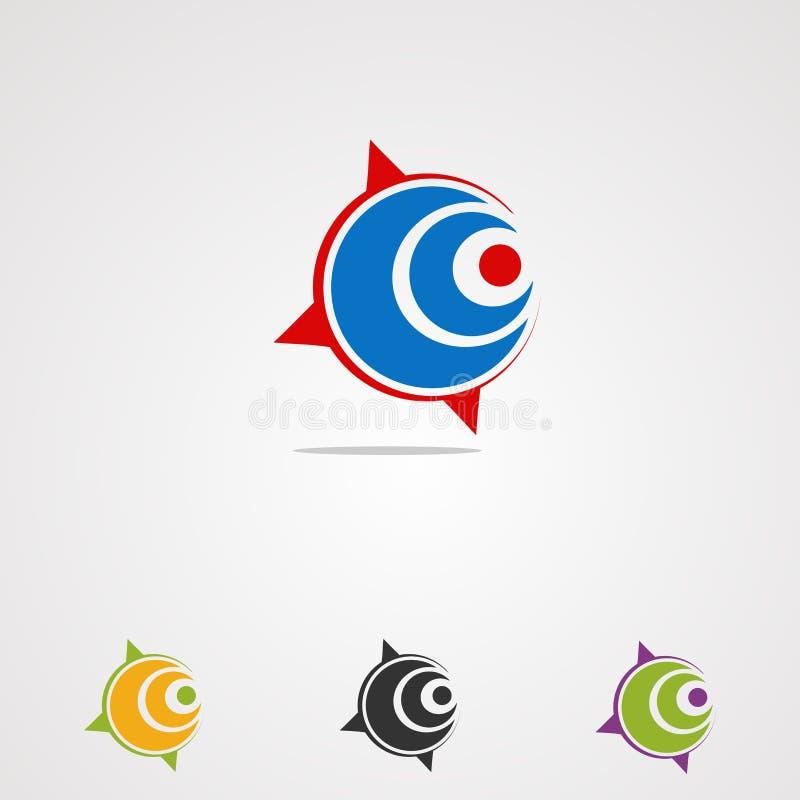 Vektor, symbol, beståndsdel och mall för logo för cirkelfläckkompass för företag vektor illustrationer