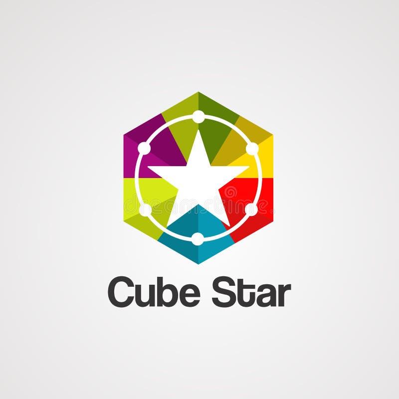 Vektor, symbol, beståndsdel och mall för logo för kubstjärna färgrik för företag stock illustrationer