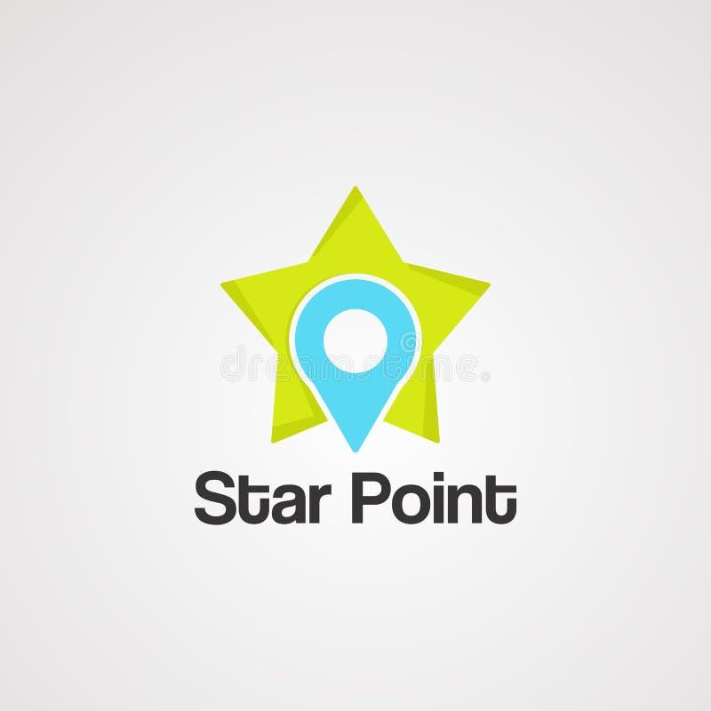 Vektor, symbol, beståndsdel och mall för stjärnapunktlogo royaltyfri illustrationer