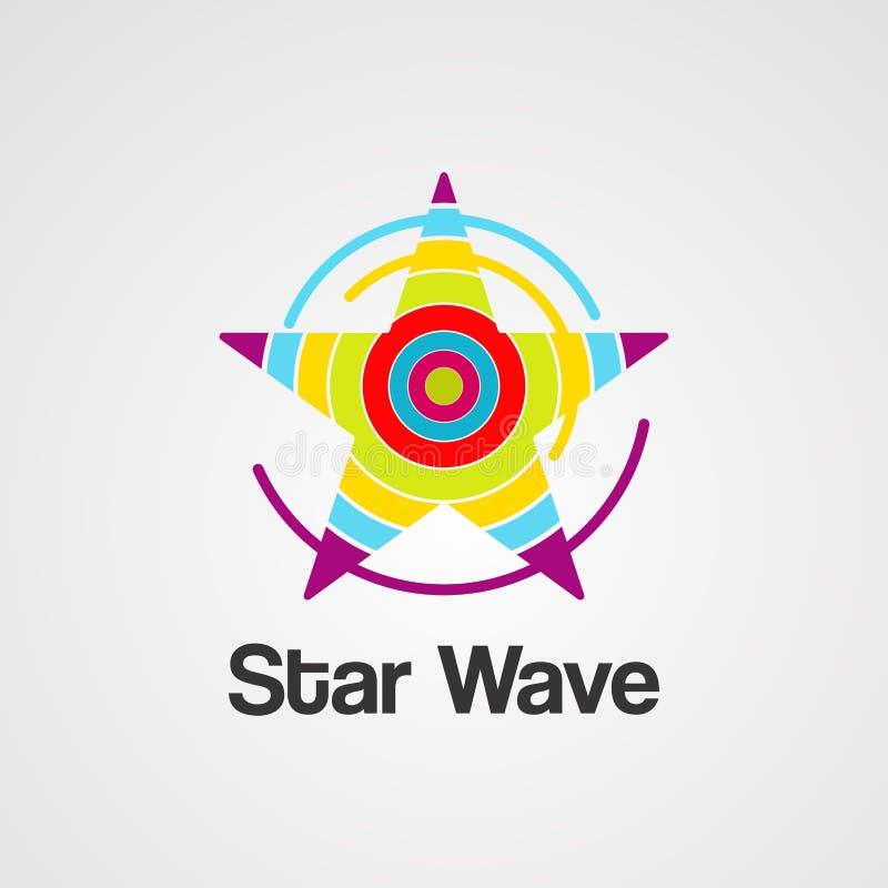 Vektor, symbol, beståndsdel och mall för stjärnavåglogo stock illustrationer