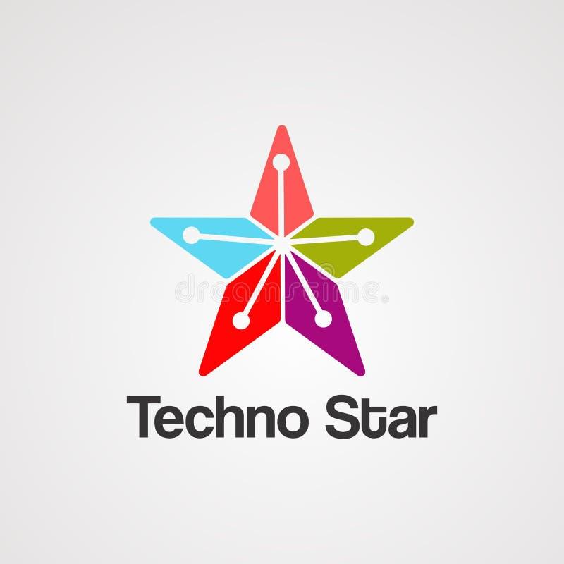 Vektor, symbol, beståndsdel och mall för Techno stjärnalogo vektor illustrationer