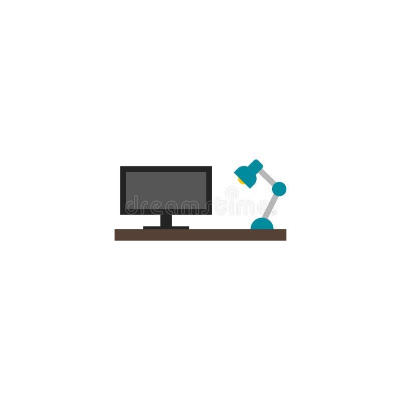 Vektor, symbol eller logo för symbol för kontorsskrivbord plan royaltyfri illustrationer