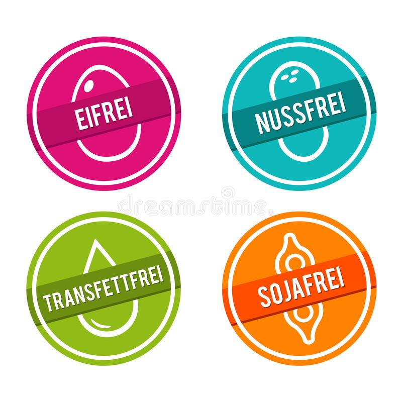 Vektor Symbole Eifrei, Nussfrei, und Transfettfrei de Sojafrei illustration libre de droits