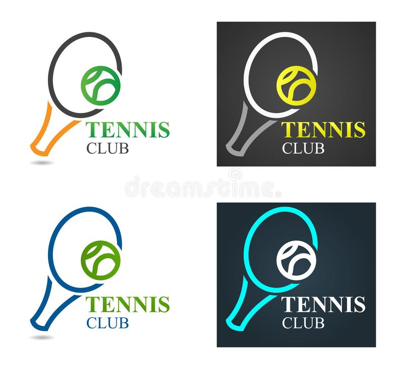 Vektor-Tennis-Sportlogo Entwurfs-Schablone Tennis-Emblem-Meisterschaft Tennisschläger mit grünem Kugelformkonzept stock abbildung