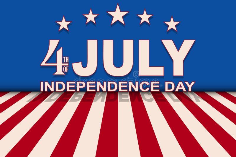 Vektor 4th av Juli bakgrund med stjärnor och band Mall för USA självständighetsdagen stock illustrationer