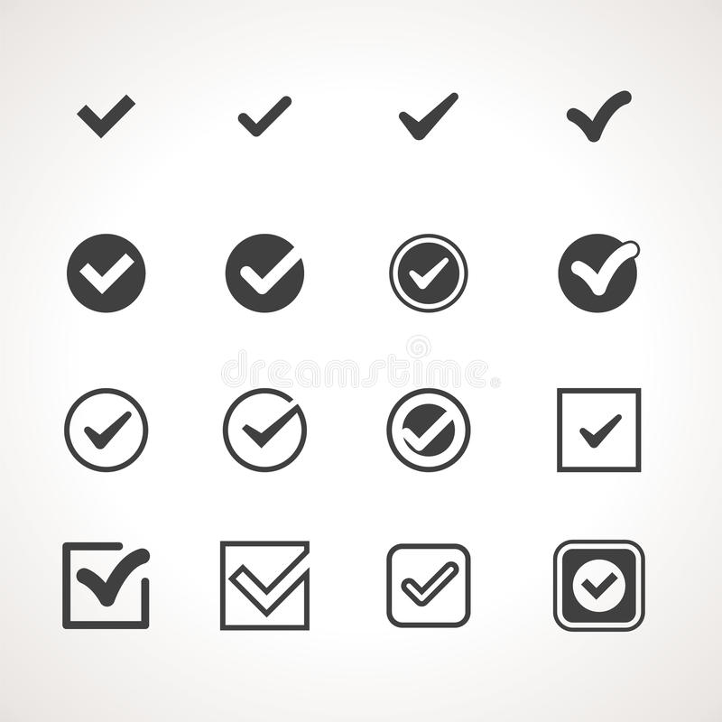 Vektor Tick Check Mark Icon Set lizenzfreie abbildung