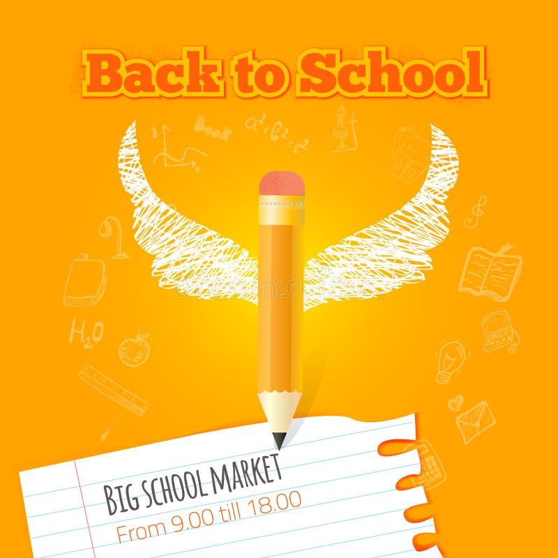 Vektor tillbaka till skolaaffischen med blyertspennan och royaltyfri illustrationer