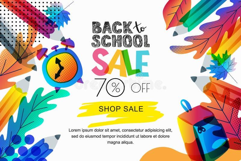 Vektor tillbaka till skolaförsäljningsbanret, affischbakgrund Färg lämnar, blyertspennor, klockan, ryggsäck på vit bakgrund stock illustrationer