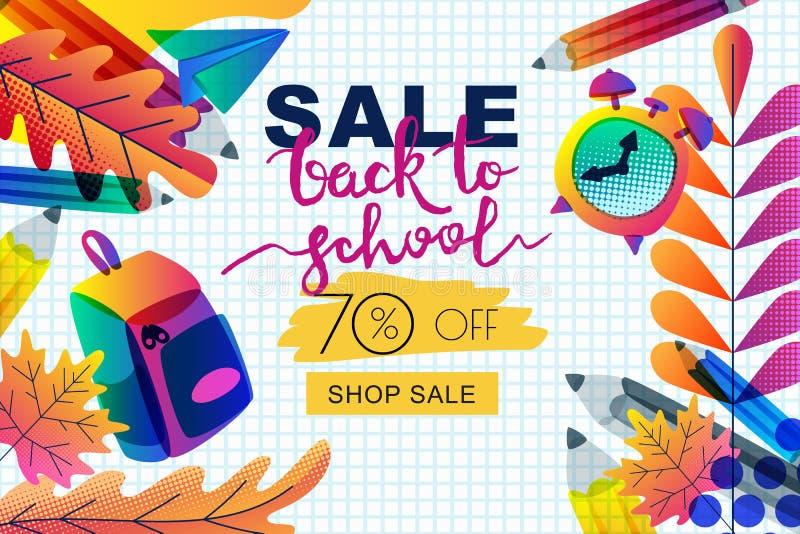 Vektor tillbaka till skolaförsäljningsbanret, affischmall Färglutningar lämnar, blyertspennor, klockan, ryggsäck på pappers- bakg vektor illustrationer