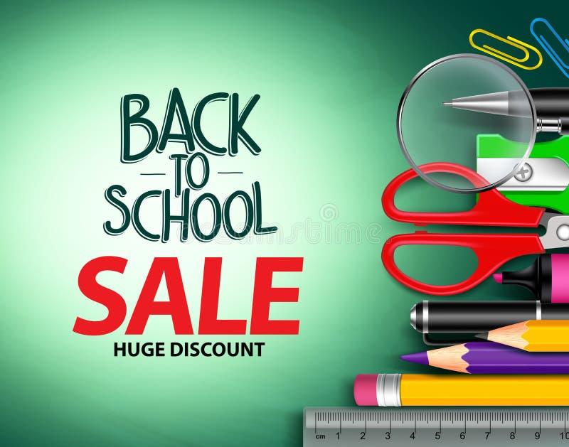 Vektor tillbaka till skolaförsäljningstext i grön bakgrund med färgrika skolaobjekt royaltyfri illustrationer