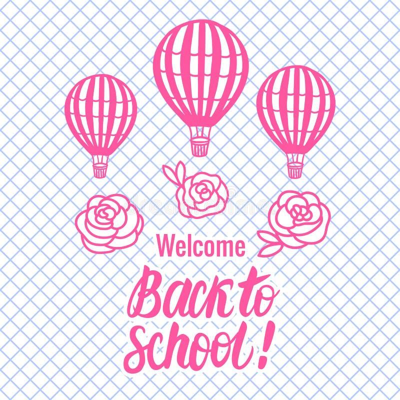 Vektor tillbaka till skolakortet med ballongen för varm luft Bokstäverinskrift stock illustrationer