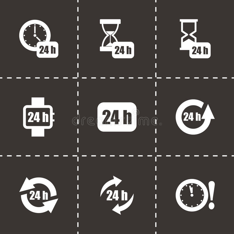 Vektor 24 timmar symbolsuppsättning royaltyfri illustrationer