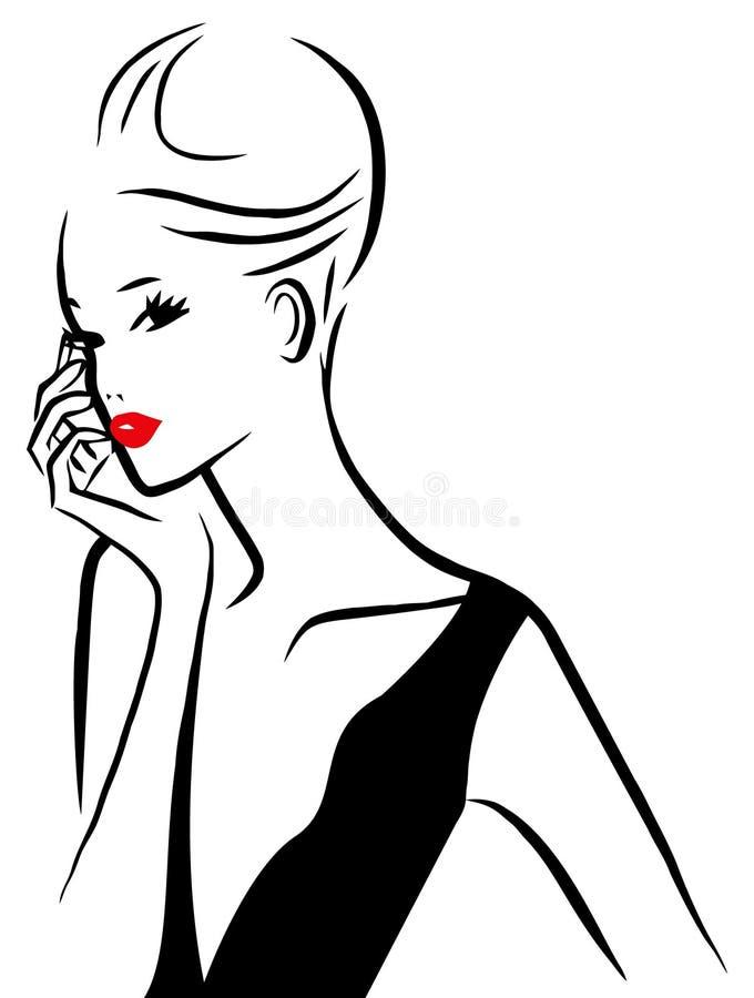 Vektor-Tinten-Linie Art Glam Lady stock abbildung