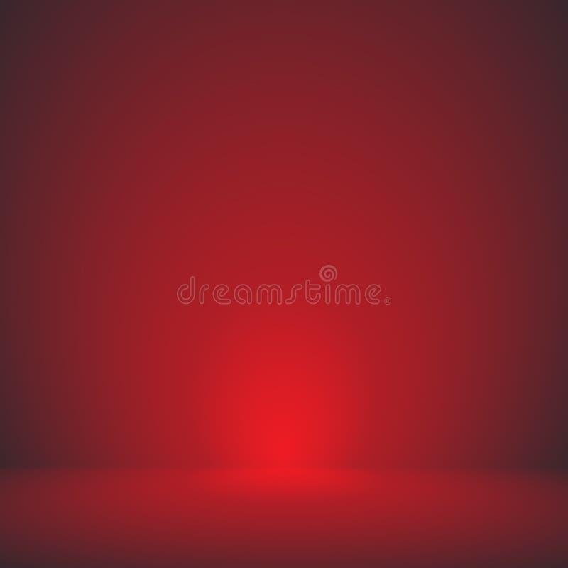 Vektor, tom bakgrund för rum för studio för röd färg för sammet, mallåtlöje upp för skärm eller montage av produkten, affär royaltyfri illustrationer