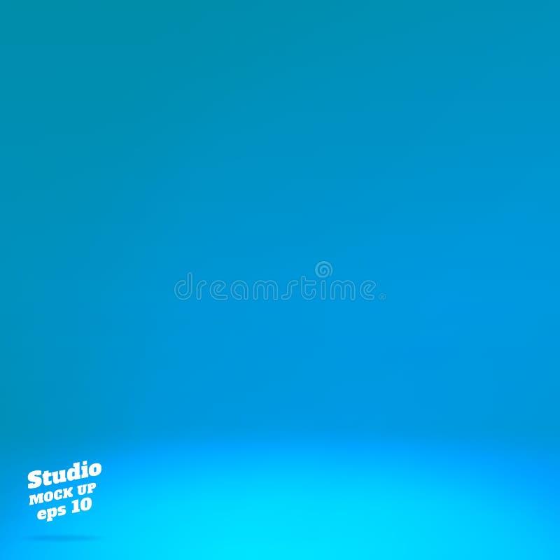 Vektor tom livlig blå studiorumbakgrund Mallåtlöje upp för skärm eller montage av produkten, sommarbakgrund vektor illustrationer