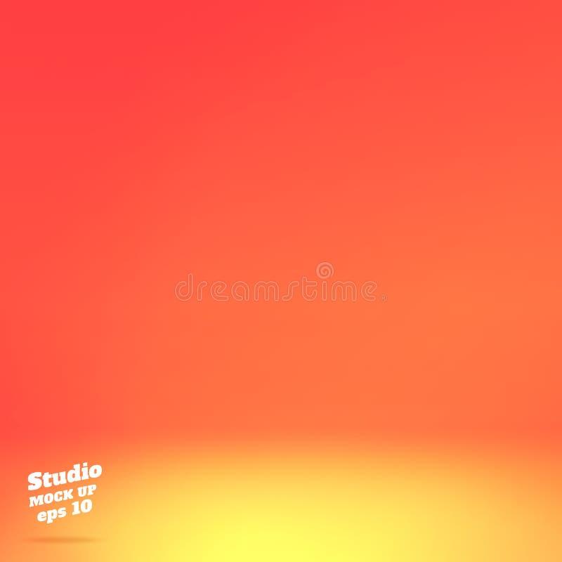 Vektor tom livlig orange studiorumbakgrund Mall?tl?je upp f?r sk?rm eller montage av produkten, sommarbakgrund stock illustrationer