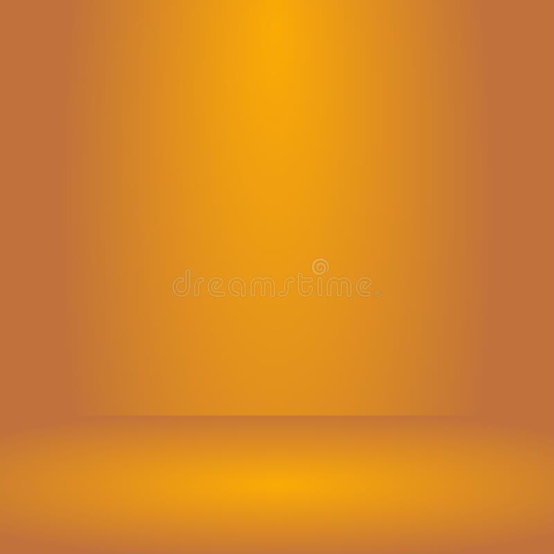 Vektor, tom orange bakgrund för färgstudiorum, mallåtlöje upp för skärm eller montage av produkten, affärsbakgrund vektor illustrationer
