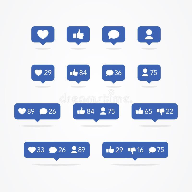 Vektor Tooltip-Sprache-Blase wie, anders als, Nachfolger, Kommentar, Mitteilung, Herz, Benutzer-Ikonen-Satz Ikonen des Sozialen N lizenzfreie abbildung