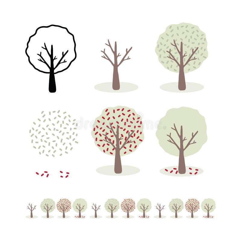 Vektor träduppsättning för 4 säsonger, illustrationmotiv av den stiliserade våren royaltyfri illustrationer
