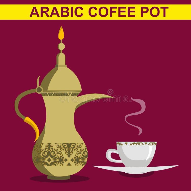 Vektor - traditionellt arabiskt kaffe rånar och kaffekoppen Plan illustration för vektor royaltyfri illustrationer