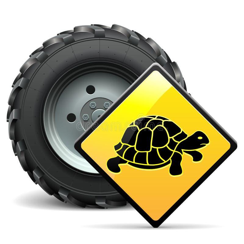 Vektor-Traktor-Rad mit Zeichen lizenzfreie abbildung