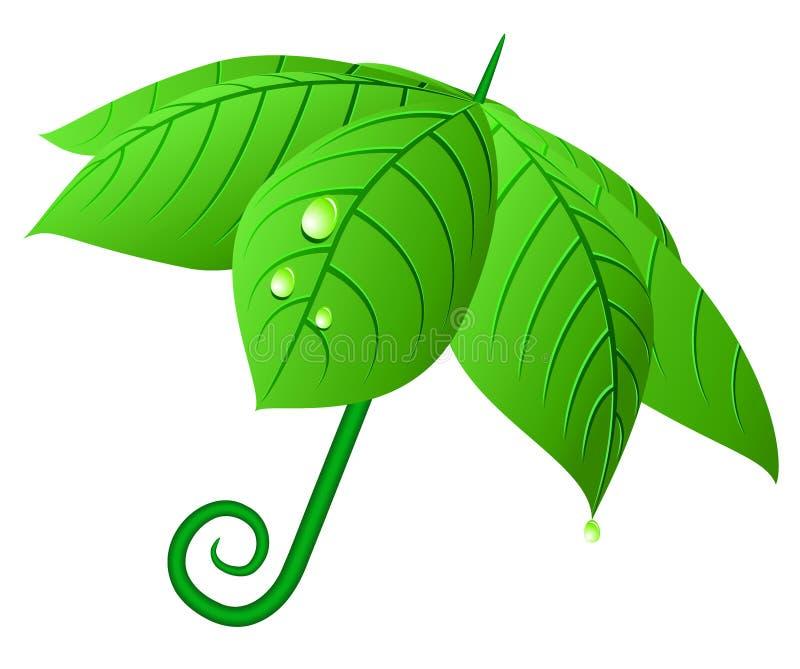 Vektor treibt Regenschirm Blätter. stock abbildung