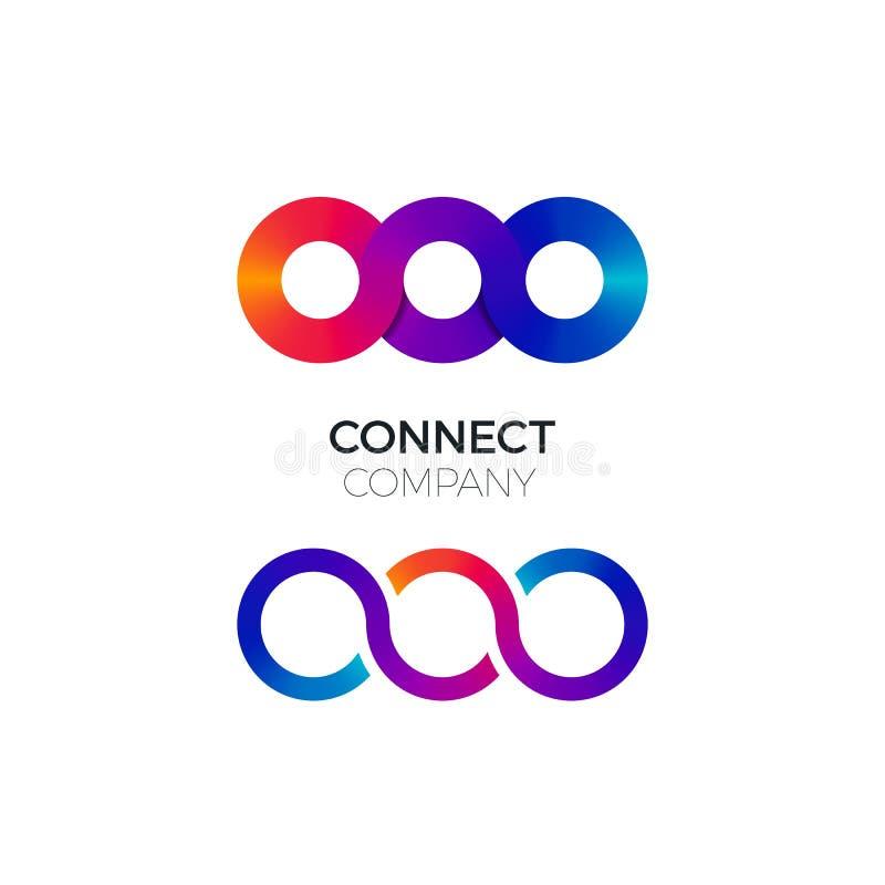 Vektor två förbinder symboler Idérik logo för färgrik kedjeaffär Begreppet av förbinder, växelverkande och samarbete vektor illustrationer