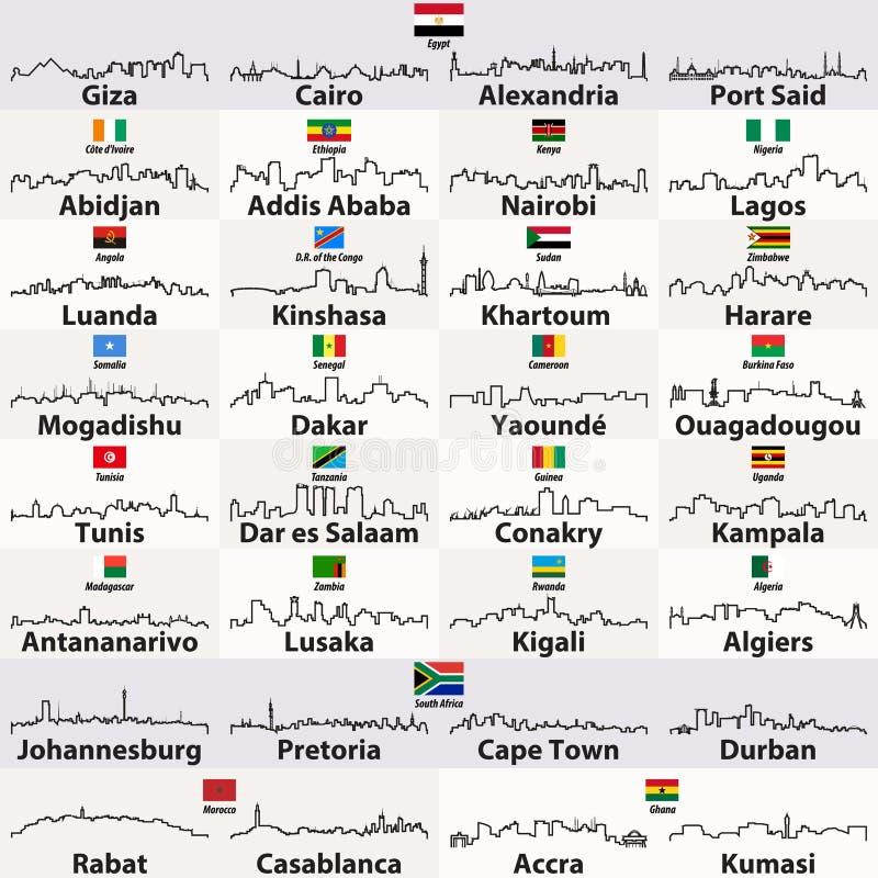Vektor umreißt Ikonen von afrikanischen Stadtskylinen stock abbildung