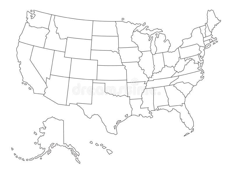 Usa Umrissen Karte Vektor Abbildung Illustration Von Quadrat