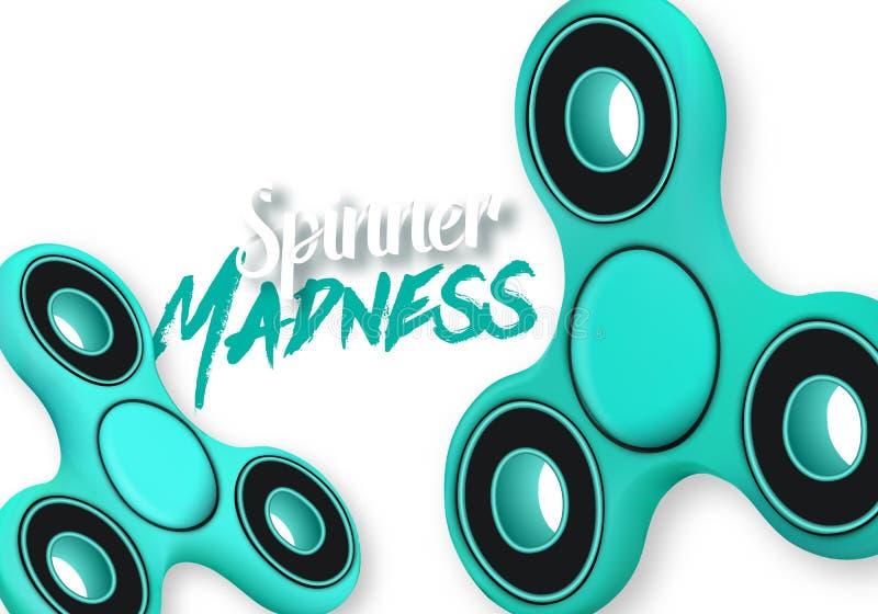 Vektor-Unruhe-Spinner-Gerät-Ikone Realistischer spinnender Toy Hand Spinner mit Spinner-Verrücktheits-Beschriftung stock abbildung