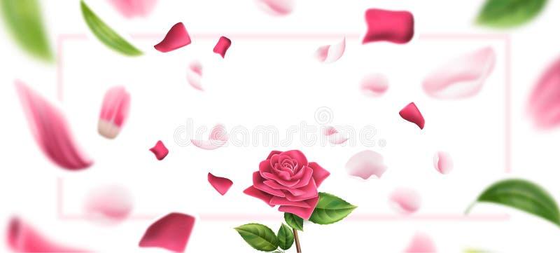 Vektor unscharfes rosafarbenes Blumenblatt, verlässt Hintergrund 3d lizenzfreie abbildung