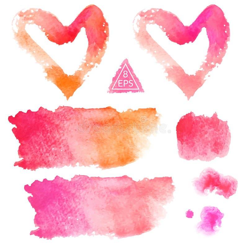 vektor Uppsättning av rosa och orange vattenfärgfläckar stock illustrationer