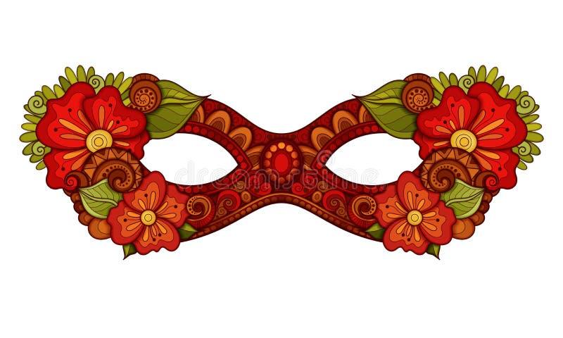 Vektor utsmyckade kulöra Mardi Gras Carnival Mask med dekorativa blommor royaltyfri illustrationer