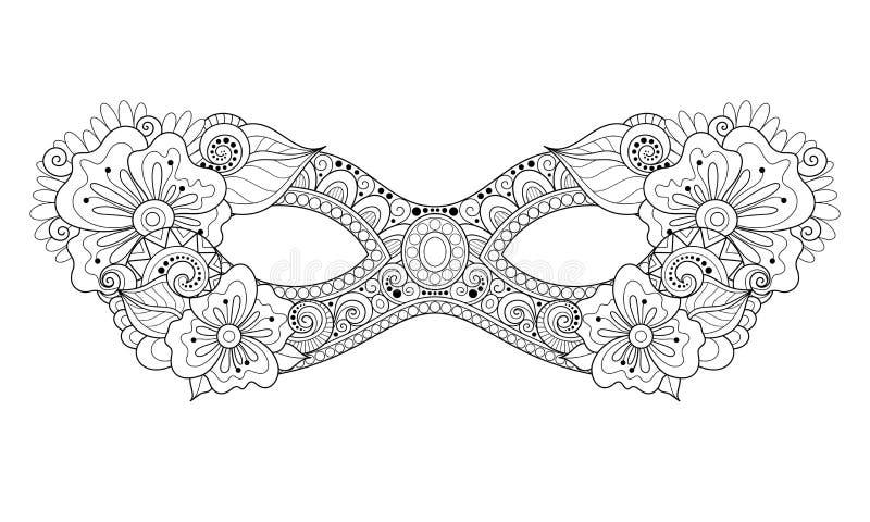 Vektor utsmyckade monokromma Mardi Gras Carnival Mask med dekorativa blommor stock illustrationer