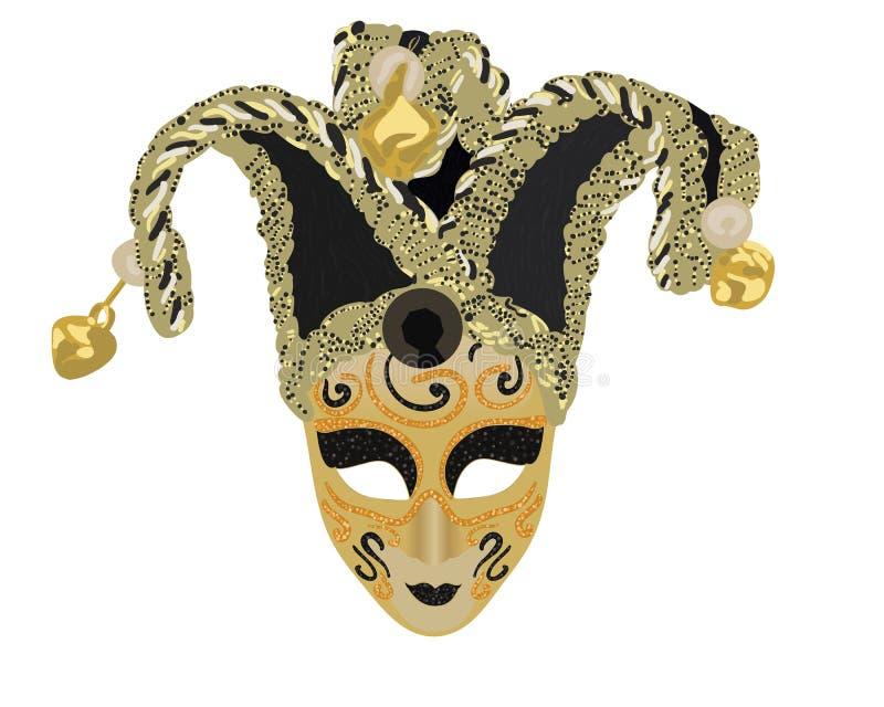 Vektor-venetianische Maske in den goldenen und schwarzen Farben lizenzfreie abbildung