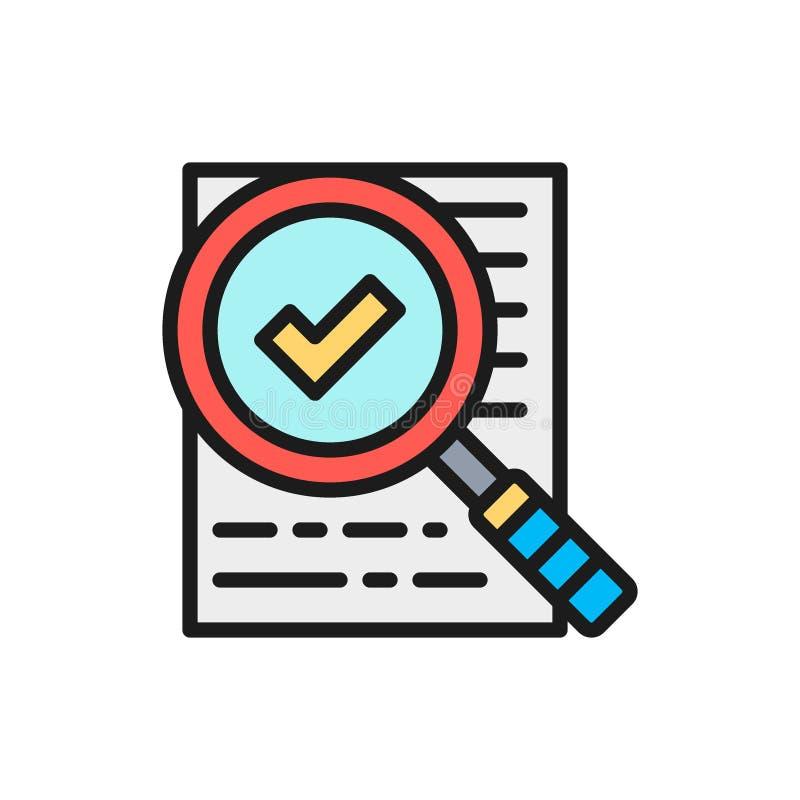 Vektor vergrößern Glas mit dem Vertrag, anerkannt, Checkliste, flache Farblinieikone stock abbildung