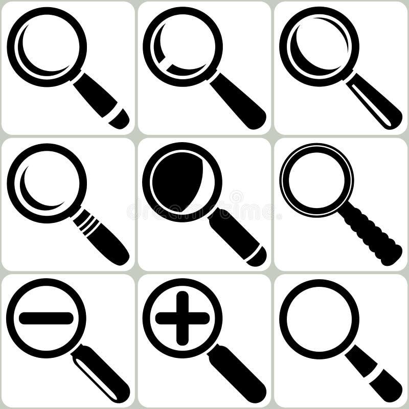 Vektor-Vergrößerungsglas-Glassuchentdeckung Lupe Zoom Icons stock abbildung