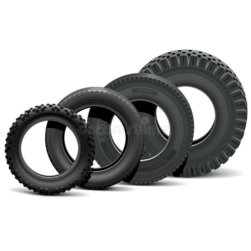Vektor-verschiedene Fahrzeug-Reifen lizenzfreie abbildung