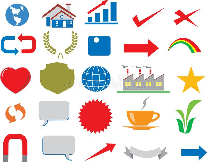 Vektor - verschiedene Geschäfts-Ikone Logo Infographic lizenzfreie abbildung