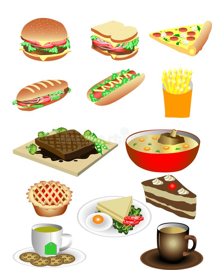 Vektor-verschiedene Sandwichfrühstück Nahrungsmittelillustration stock abbildung