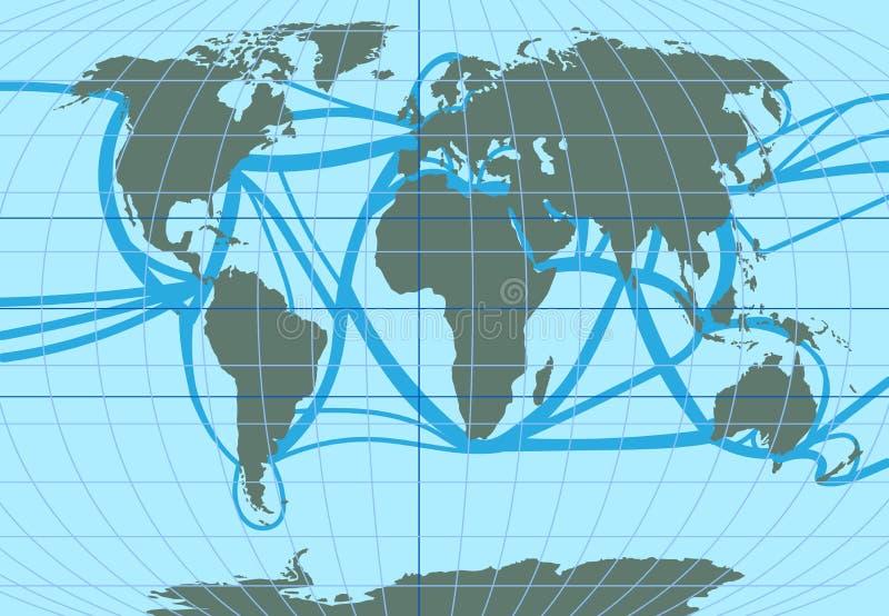 Vektor?versikt av v?rlden Ruttar för havshandel och passagerare stock illustrationer